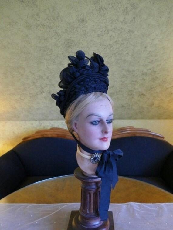 1880s Antique bonnet, Victorian Bonnet, antique ha