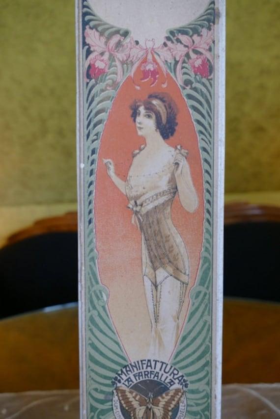 1912 Corset Box, FARFALLA Corset Box, antique cors