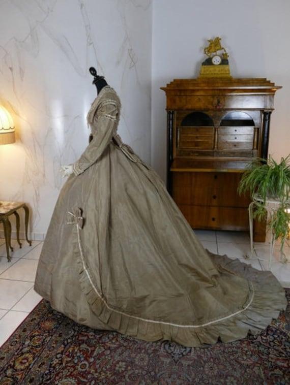 1866 Antique dress, antique gown, crinoline dress,