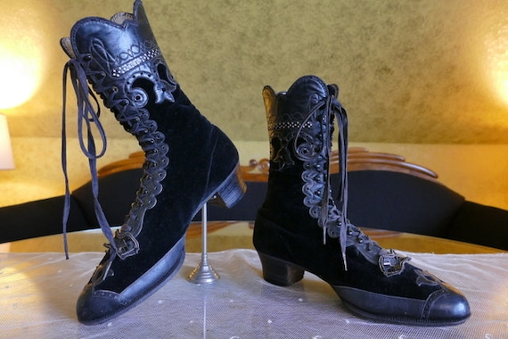 1900 Lace-Up Boots, Germany, antique boots, Victor
