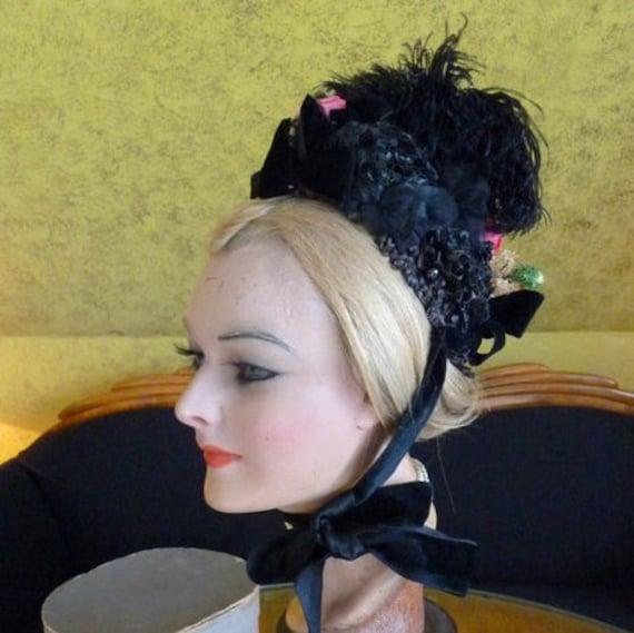 1885 Bonnet, antique bonnet, Victorian Bonnet, ant