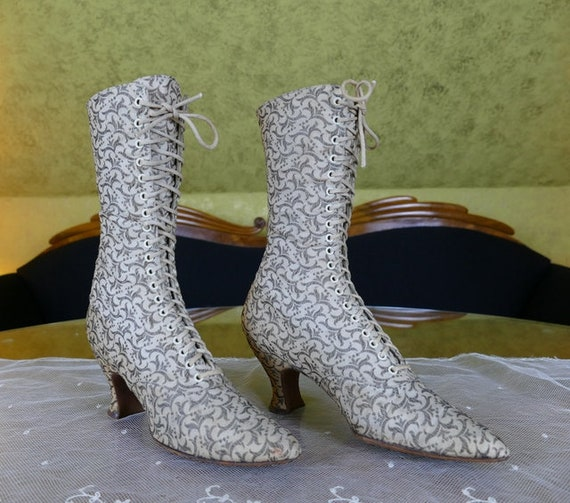 1895 THAYER McNEIL Metallic Brocade Lace-Up Boots,