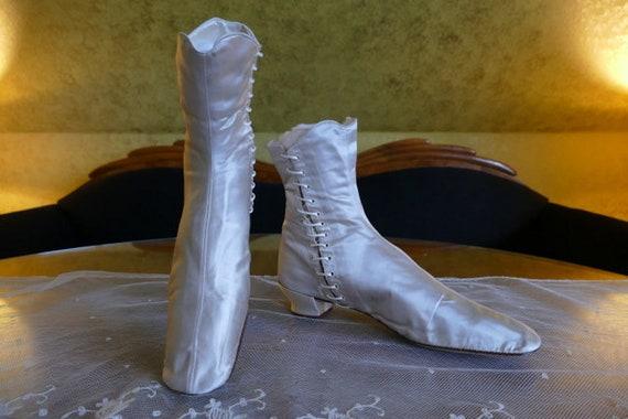1860 HOBBS Wedding Boots, Boston, antique boots, a