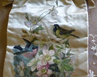 1890 Painted Purse, antique purse, antique hand bag, antique pocket