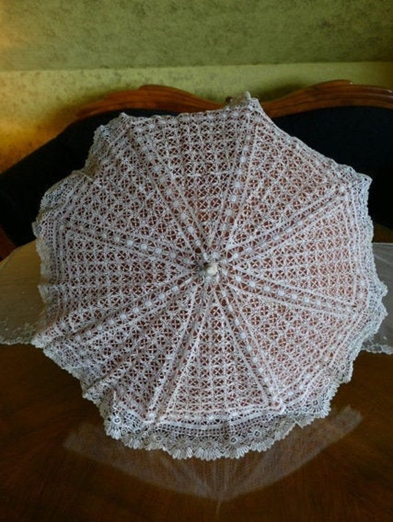 1860 Folding Parasol, carved shaft with roses, ant