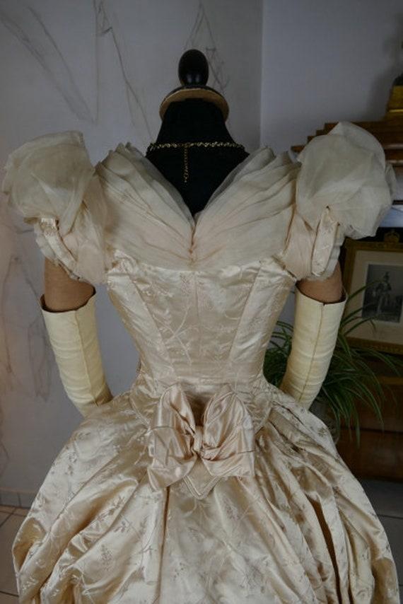 1888 Peach Bustle Ball Gown, antique dress, antiqu
