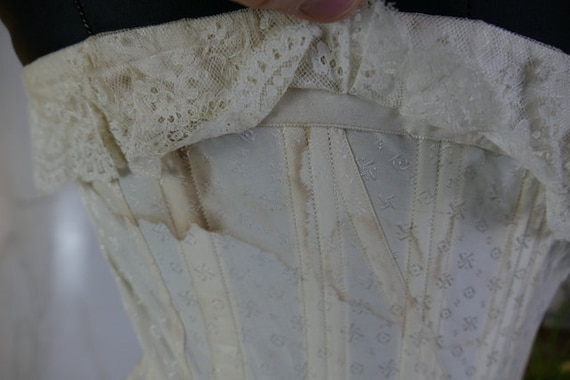 1907 Wedding Corset, antique corset, Edwardian Co… - image 10