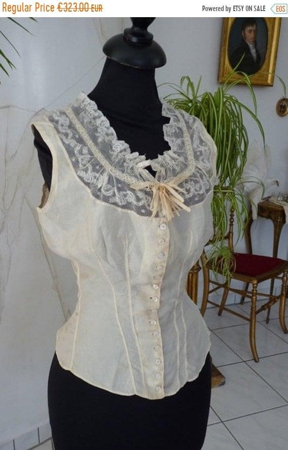 ON SALE 1880 Wedding Camisole, antique Camisole, V