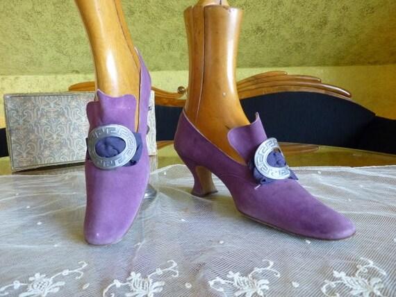 1900 Lavender Shoes, antique Shoes, Edwardian Shoe