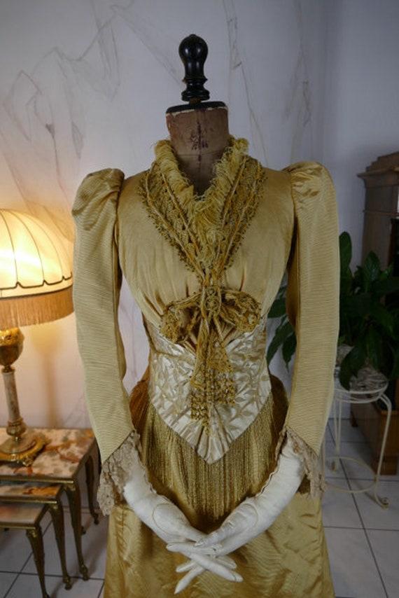1895 ALLEBONEL Reception Gown, Chicago, antique Dr