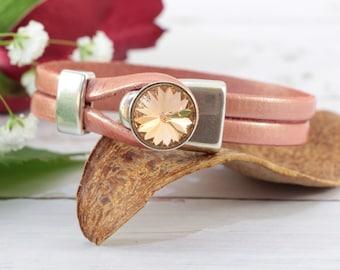 Leather Bracelets for Women, Swarovski Crystal Bracelet, Leather Wrap Bracelet, Unique Gifts for Women
