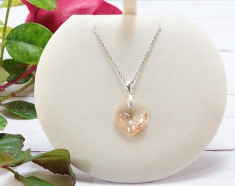 Dainty Sterling Silver Champagne Zircon Heart Pendant Necklace, Charm Necklaces for Women, Unique Valentines Day Gifts for Women