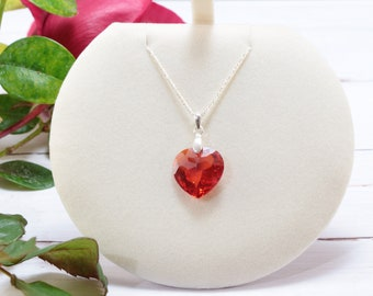 Elegant Sterling Silver Red Zircon Heart Pendant Necklace, Crystal Heart Necklaces for Women, Unique Valentines Day Gifts for Women
