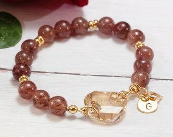 Stunning Personalized Bracelets for Women, Gold over Sterling Silver Rose Quartz Beaded Bracelet with Swarovski Crystal, Unique Gifts