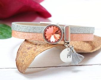 Personalized Bracelets for Women, Sparkle Silver Swarovski Crystal Bracelet, Hand stamped Custom Bracelets, Unique Personalized Gifts