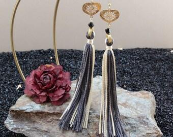 Dazzling Silk Silver & Gold Tassel Earrings, Gold over Sterling Silver Heart Earrings, Unique Gifts for Women