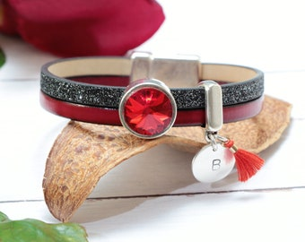 Personalized Leather Bracelets for Women, Red Passion Swarovski Crystal Bracelet, Hand stamped Custom Bracelets, Unique Personalized Gifts