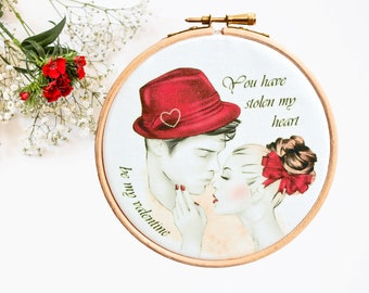 Gorgeous Valentines Decor 5'' Embroidery Hoop, Be My Valentine, Unique Valentines Day Gifts for Him, Gifts for Her