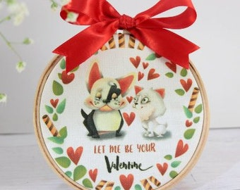 Valentines Day Decor 4+'' Embroidery Hoop, Unique Valentines Day Gifts for Him, Personalized Gifts for Her, Pet Lovers Gift