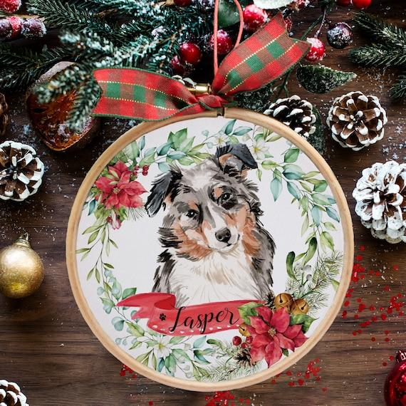 All 4 Colors Christmas Ornament Australian Shepherd Personalization Available! Four Wreath Designs