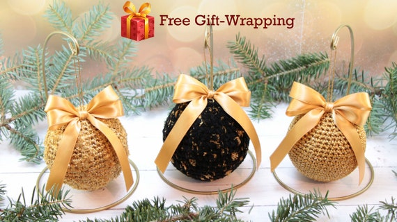 image 0 - Black And Gold Christmas Ornaments