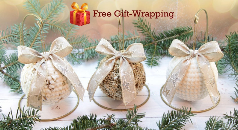 image 0 ... & White Crochet Christmas Ornaments Set Traditional Christmas | Etsy