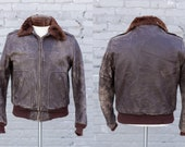1940 39 s Horsehide Leather Bomber Jacket Distressed G-1 Style Flight Fur Collar Satin Lining Knit Cuffs