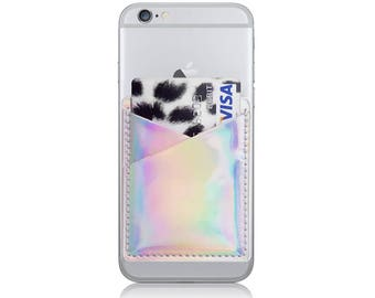 1c49c451e99 Holographic Phone Card Holder Card Holder For Phone Stick On   Etsy