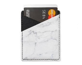 Phone Card Holder, Phone Wallet, Phone Pocket, Leather Card Holder, Stick On Wallet, Adhesive Phone Wallet, Marble Card Holder, Black