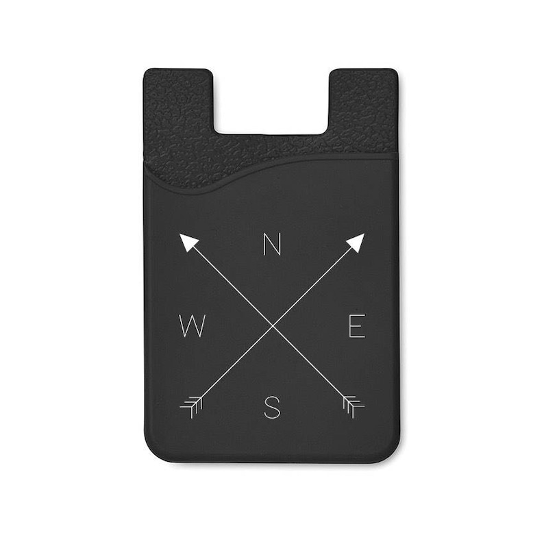 Phone Card Holder Phone Wallet Card Holder For Phone Cell Compass - Black x2