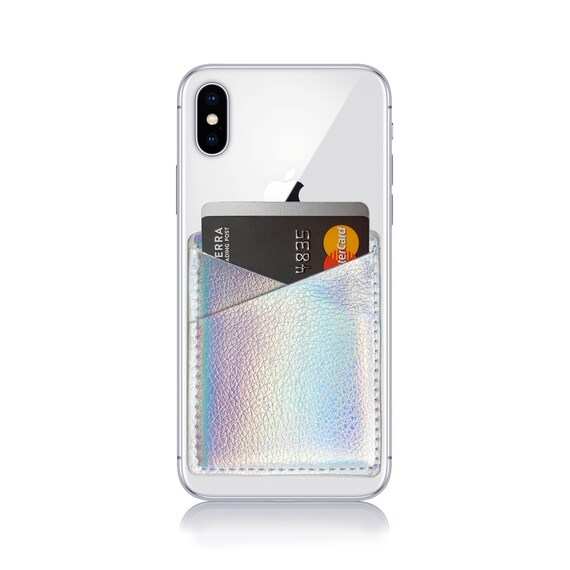 e3eb1b15663 Phone Card Holder, Holographic Phone Case, Card Holder For Phone, Phone  Wallet, Holographic, Holographic Wallet, Silver, Rainbow, Iridescent