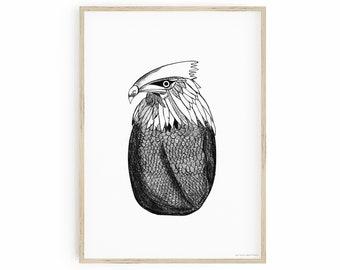 Printable Wall Art, Eagle Art Print, Pacific Rim Art