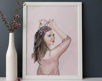 portrait, art print, Laying Wire