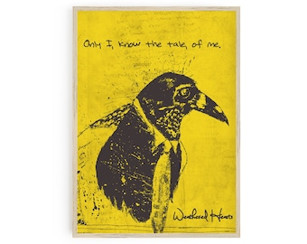 Printable Magpie Bird in a Tie with quote -  Black and Yellow - Download