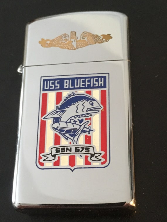 USS Bluefish Submarine SSN 675 Zippo Slim Lighter - 1975 Used