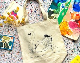 Leda and the Swan Canvas Natural Cotton Tote, Mythological Art, Pink Swan Float, Feminist Art, Ancient Greek Heartbreak Reusable Grocery Bag