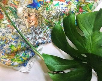 Appalachian Primavera Silk Scarf, Dolly Silk Scarf, Wildflower 100% Silk Scarf, Floral Scarf, Botanical Silk Scarf, Spring Flower Art