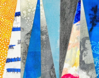 Small Notes (Civil Twilight Archival Print, Geometric Abstraction Giclee Print, Nocturne Collage, Indigo Artwork, Blue Watercolor Wall Art