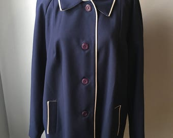 Vintage Plus Size Blue Jacket with Piping Size 20.5