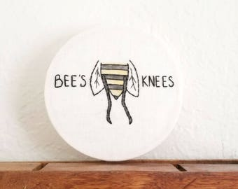 Bees Knees Hand Embroidery Hoop, Embroidery Art, Bee, Bumblebee, Gift under 50, Hand Embroidered