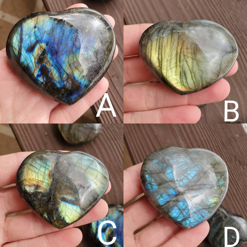 Palm Stone Labradorite Heart Puffy Heart Crystal Heart