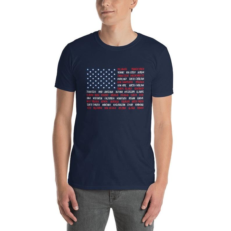 Flag American Shirt  Fourth July Shirt  Map Shirt  July 4 image 0