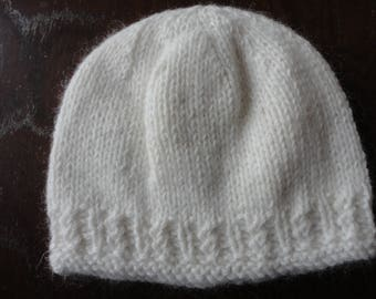 Luxury Hand Knitted 100% Cashmere Twisted Rib Baby Beanie