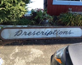 Vintage Prescription Drug Store Sign