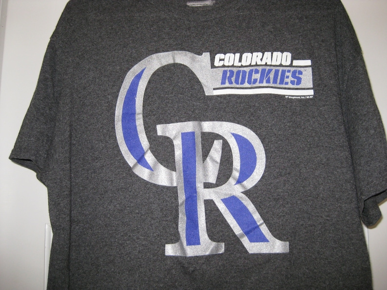 super popular c2897 aeecc vintage Colorado Rockies baseball shirt