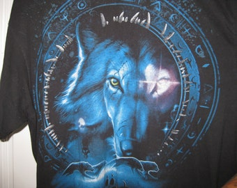 vintage wolf t-shirt mystical
