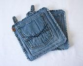 Pot Holders // Recycled Denim Pockets // Oven Mitts // Trivet