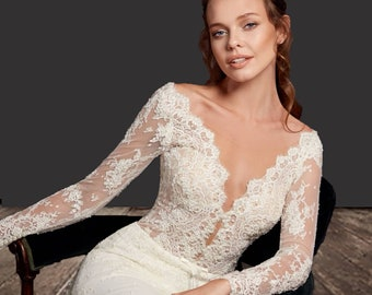 25cf327358ad Mermaid Wedding Dress with long sleeves and Train . Trumpet Lace Wedding  Gown. Berta Bridal