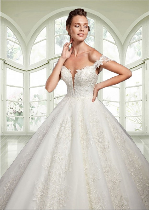 A Line Lace Wedding Dress. Off Shoulder