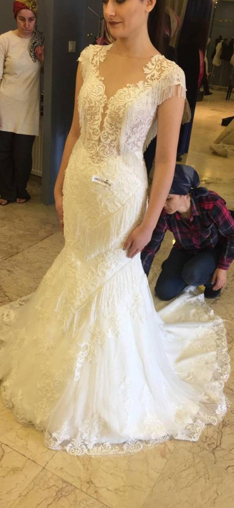 65d5dc5473 Open Back Mermaid Wedding Dress. Beaded Trumpet Wedding Gown. Full of Work.  Beautiful. Berta Bridal Liz Martinez Galia Lahav Pronovias